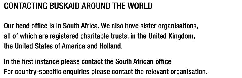 CONTACTING BUSKAID AROUND THE WORLD. 